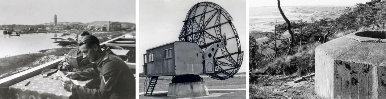 Duitse militairen op het voormalige terras hotel van Nouhuys | Würzburg-Riese radar | Tobruk bunker op het duin De Walvis.